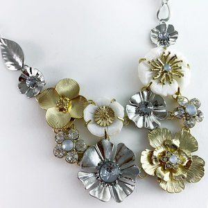 Gold and Silver Crystal Flower Statement Necklace